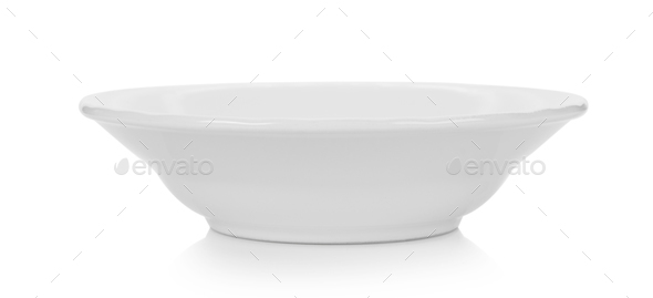 white ceramic plate on white background - Stock Photo - Images