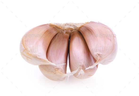 garlic on white background - Stock Photo - Images