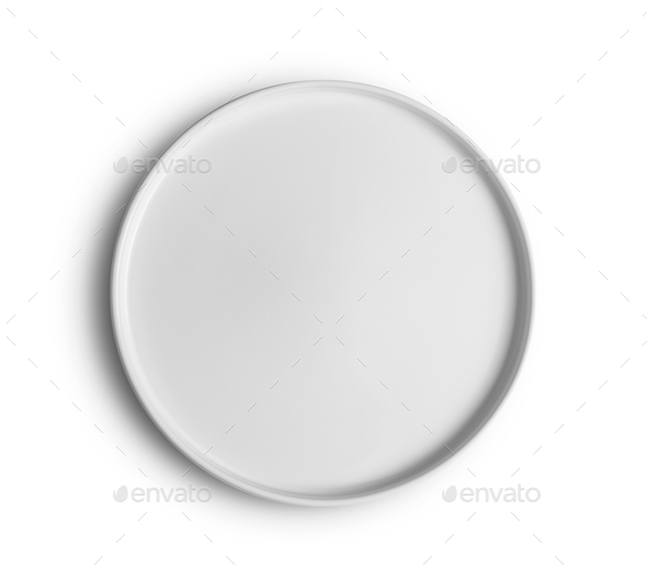top view white plate on white background - Stock Photo - Images
