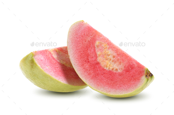 Pink Guava slice isolated on white background - Stock Photo - Images