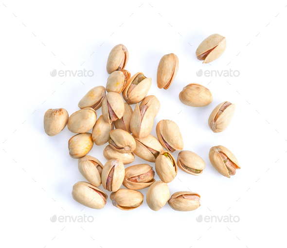 Pistachios isolated on white background, top view. - Stock Photo - Images