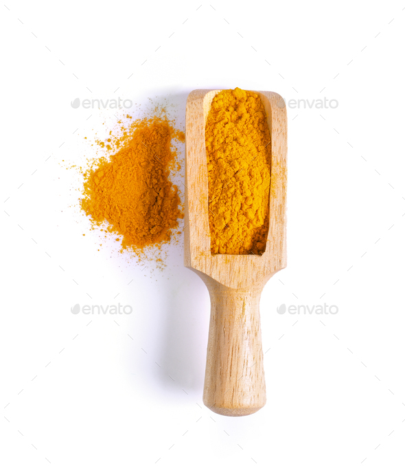 Turmeric (Curcuma) powder pile in wood scoop isolated on white b - Stock Photo - Images