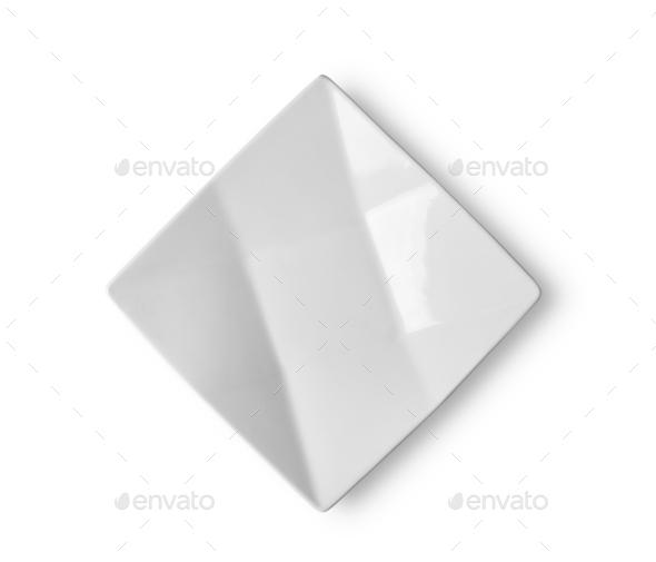 empty white ceramic plate on white background - Stock Photo - Images