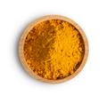 Turmeric (Curcuma) powder pile in wood bowl isolated on white ba - PhotoDune Item for Sale