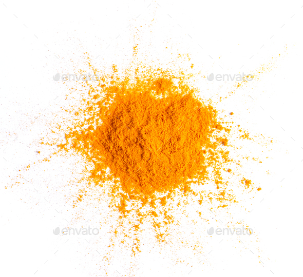 Turmeric (Curcuma) powder pile isolated on white background, top - Stock Photo - Images