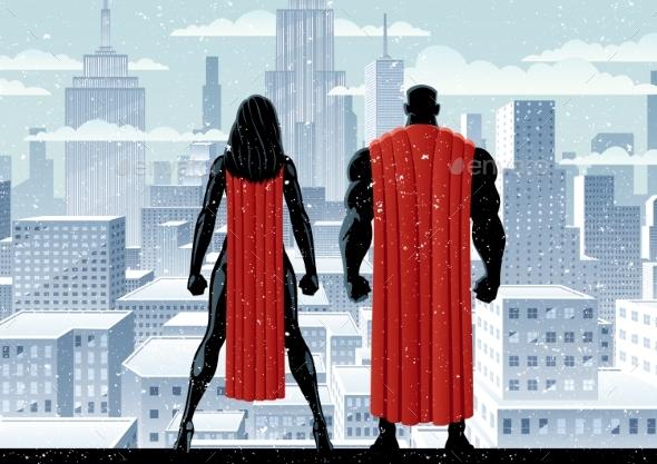 Superhero Couple Watch Winter - People Characters