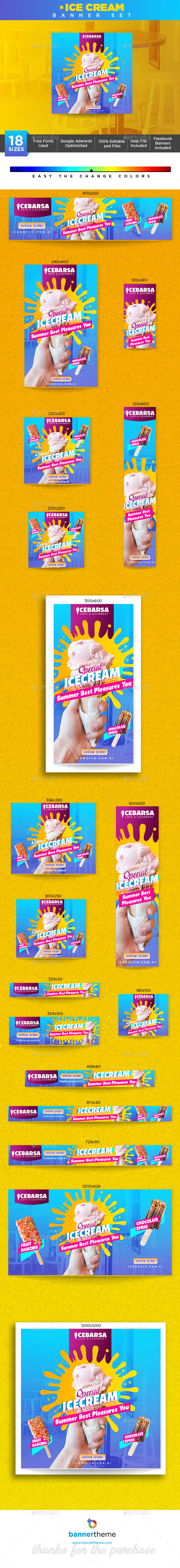Ice Cream Banner - Banners & Ads Web Elements