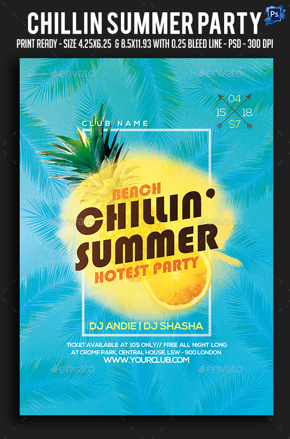 Chillin Summer Party Flyer - Clubs & Parties Events