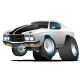 Classic Seventies Style American Muscle Car Cartoon