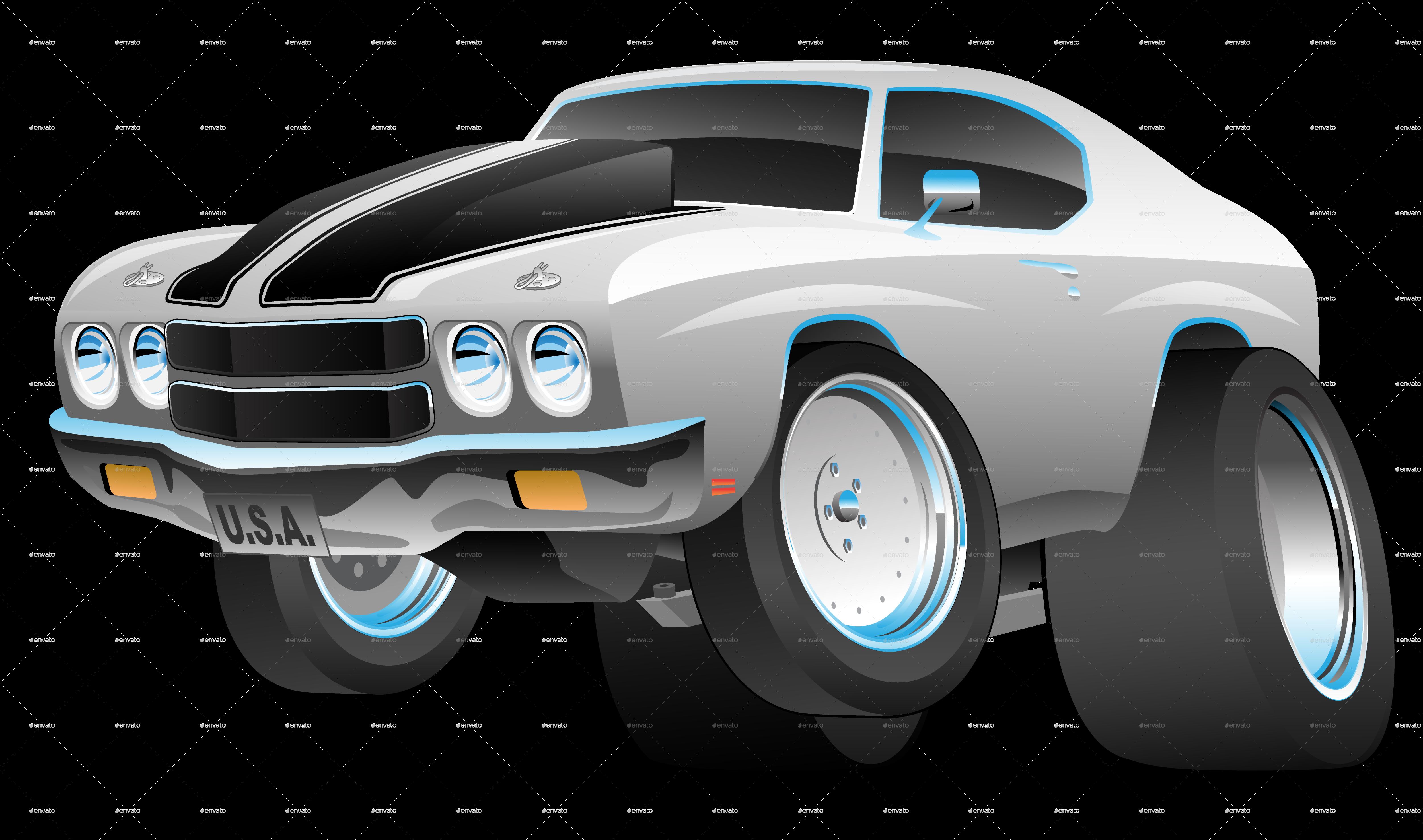 Classic Seventies Style American Muscle Car Cartoon by jeffhobrath
