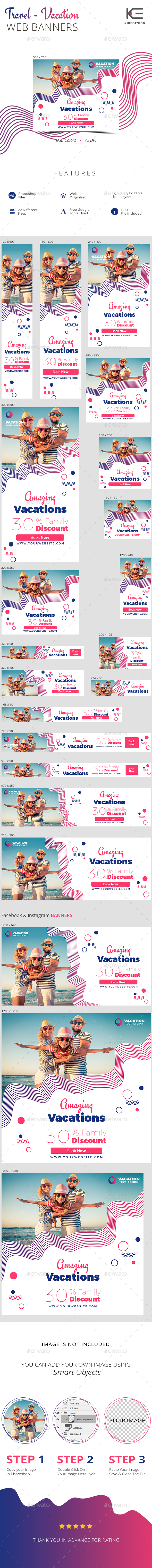 Travel - Vacation Web Banners - Banners & Ads Web Elements