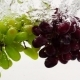 Red and Green Grapes Falling Into Water with Bubbles in . Fruit on White Background. - VideoHive Item for Sale