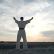 Athlete Karatek Raises His Arms and Greets the Sun - VideoHive Item for Sale