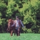 Cowboy Rider Goes Next To the Horse and Then Jumps on It and Rides on It - VideoHive Item for Sale