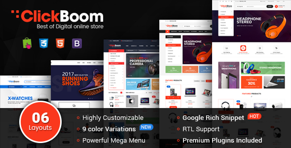 ClickBoom - WooCommerce WordPress Digital Store Theme (6+ Homepage Designs)