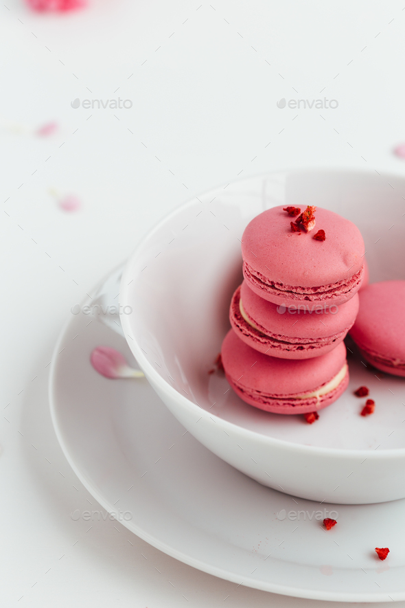 Macarons stacked in White Bowl - Stock Photo - Images