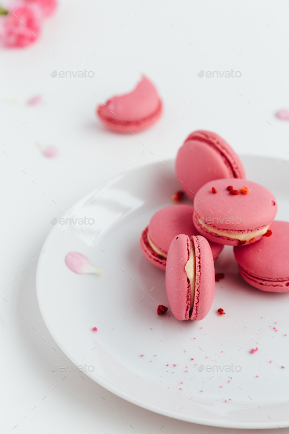 Pink Macarons Scattered on Table - Stock Photo - Images