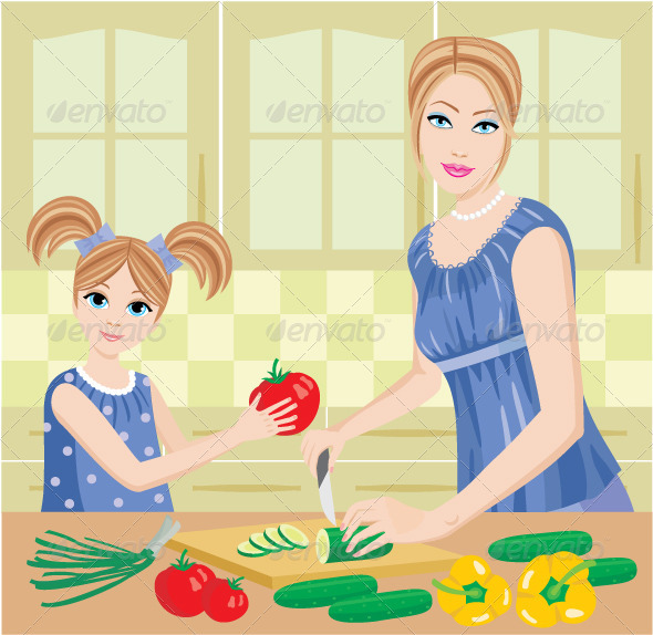 Daughter Helps Mum to Prepare Food - People Characters