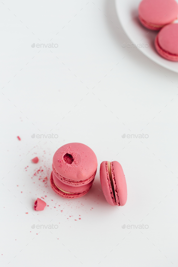 Pink Macarons on White Table - Stock Photo - Images