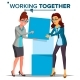 Working Together Concept Vector. Business Woman