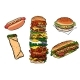 Collection Set Fast Food Kebab Burger Hot Dog - GraphicRiver Item for Sale