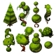 Set of Trimmed Shrubs in the Shape of Animals