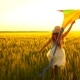 Girl Running Around with a Kite on the Field - VideoHive Item for Sale