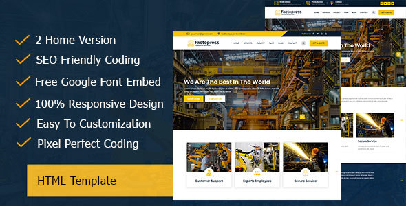 Factopress - Factory & Industrial Business Responsive Template - Corporate Site Templates