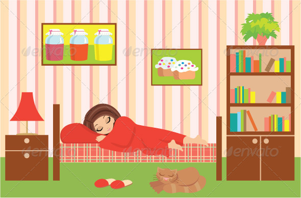 Woman cartoon sleeps - People Characters