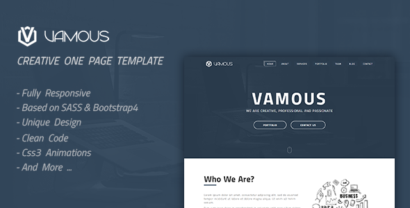 Image of Vamous | Creative One Page HTML Template