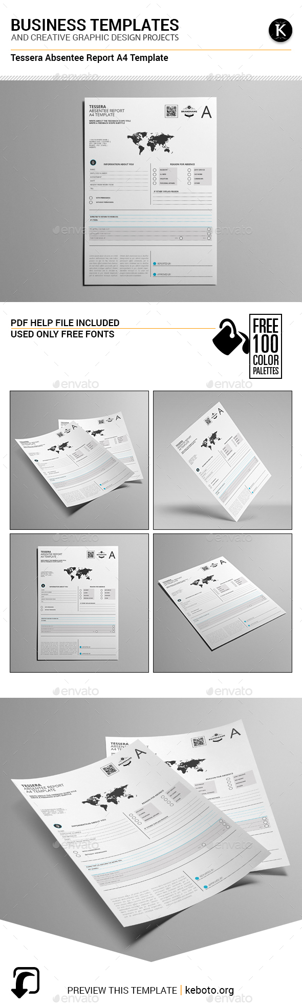 Tessera Absentee Report A4 Template - Miscellaneous Print Templates