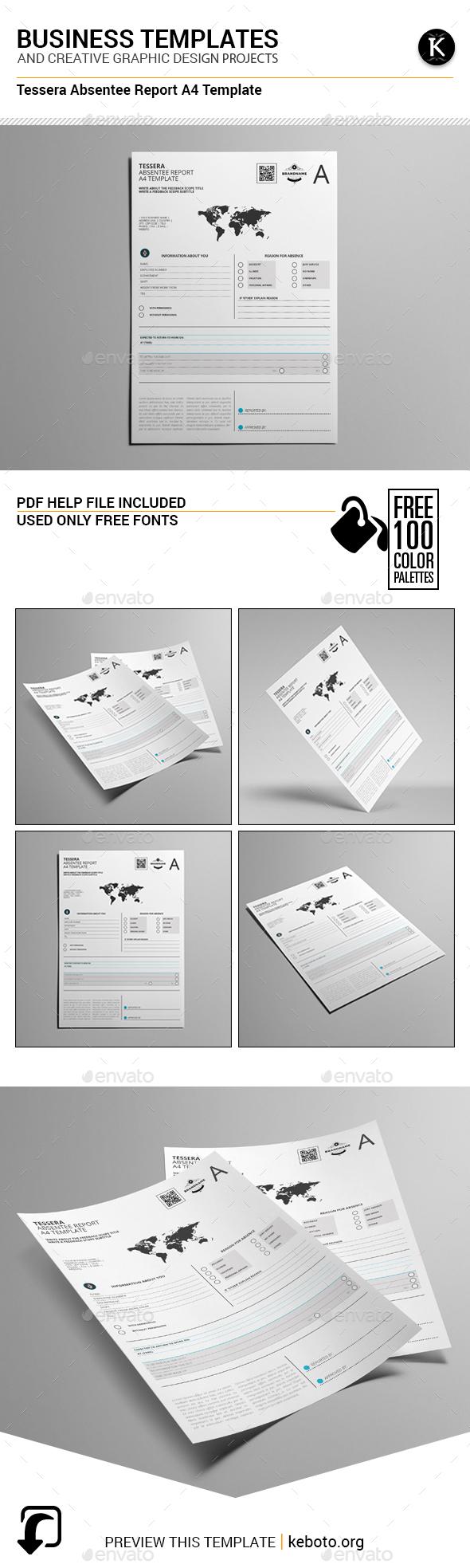 Tessera Absentee Report A4 Template - Miscellaneous Print Templates