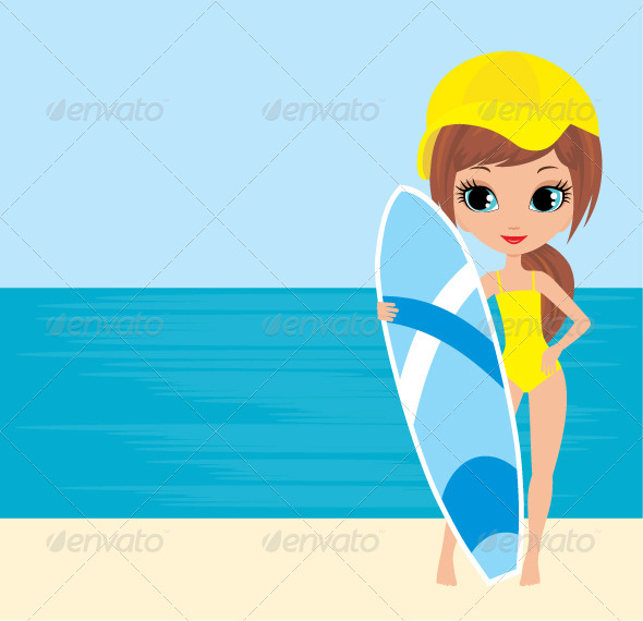 Pretty girl with a surfboard - Sports/Activity Conceptual