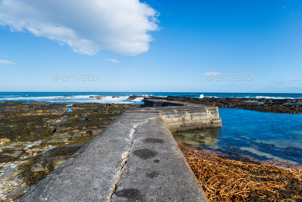 Nybster Harbour in Scotland - Stock Photo - Images