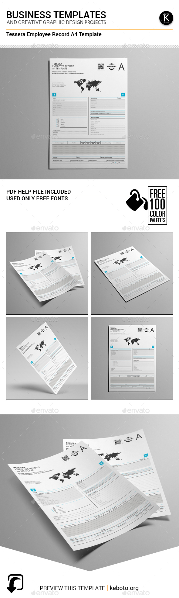 Tessera Employee Record A4 Template - Miscellaneous Print Templates