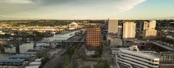 Aerial View of Downtown Tacoma Washington and The Port Waterfront - Stock Photo - Images