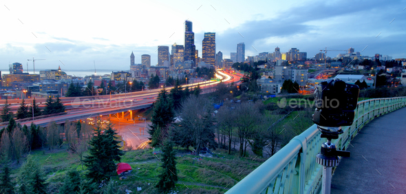 Bright Sunset Light Backlights The Seattle City Skyline - Stock Photo - Images
