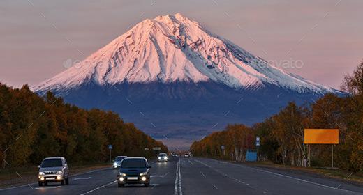 City landscape of Kamchatka Peninsula