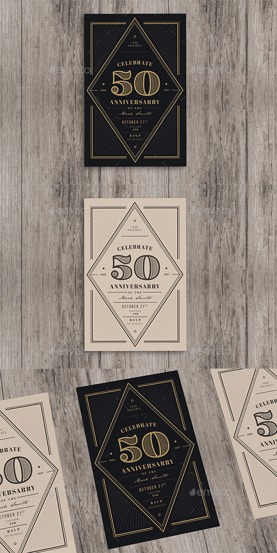 Vintage Anniversary Invitation - Cards & Invites Print Templates