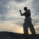 Silhouette of an Athlete Actively Preparing for Karate Battle - VideoHive Item for Sale
