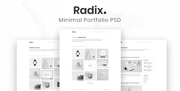 Radix - Minimalist PSD Template - Portfolio Creative