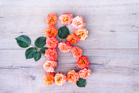 B, roses flower alphabet isolated on gray wooden background, flat lay - Stock Photo - Images