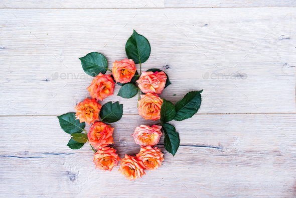 O, roses flower alphabet isolated on gray wooden background, flat lay - Stock Photo - Images