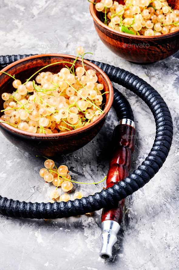 oriental shisha with white currant - Stock Photo - Images