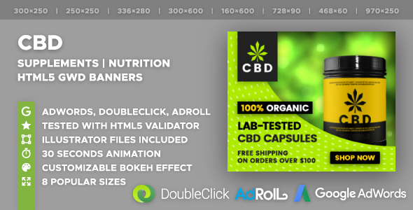 CBD | Nutrition | Supplements HTML5 Banner Ad Templates (GWD)            Nulled