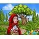 Little Red Riding Hood Cartoon Fairy Tale Scene
