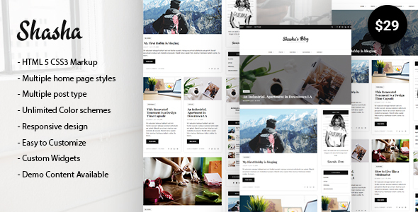 Shasha WordPress Blog Theme - Blog / Magazine WordPress