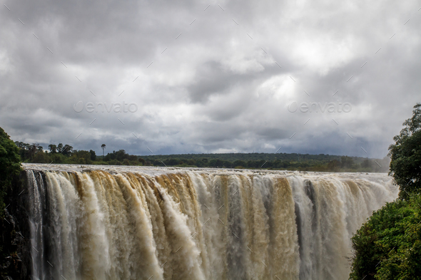 The Victoria Falls from the Zimbabwe side. - Stock Photo - Images