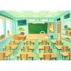 Empty Cartoon Classroom