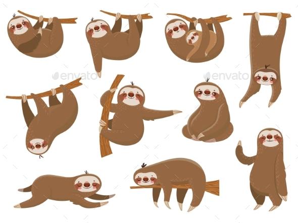 Cartoon Sloths - Animals Characters